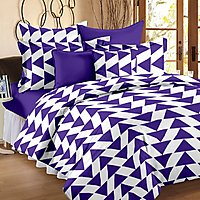 Story@Home 120 TC 100 Cotton Blue 1 Double Bedsheet With 2 Pillow Cover-CN1406