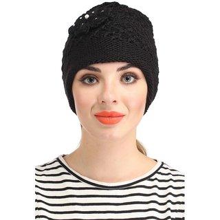 Black Woolen Cap for Ladies