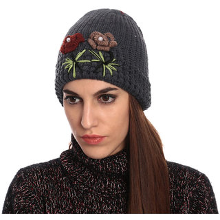 Grey Red Woolen Cap