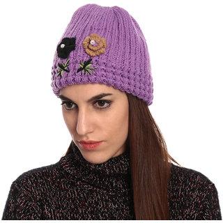 Purple Woolen Cap for Ladies