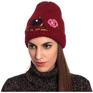 Maroon Woolen Cap for Ladies