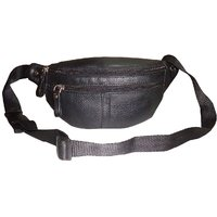 Style98 Black Genuine Leather Waist Pack For Men And Women 45006IA2