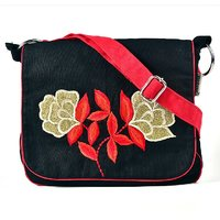 Pick Pocket Black And Red Canvas Sling Bag With Golden Embroidery