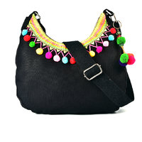 Pick Pocket Black Canvas Sling Bag With Multi Coloured Pom Pom