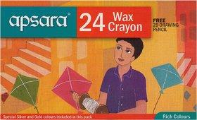 Apsara Wax Crayon 24 Col (Pack of 3)