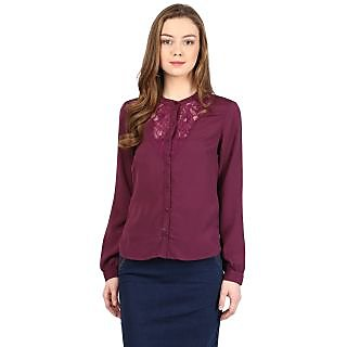 Harpa Wine Crepe Solid Womens Top