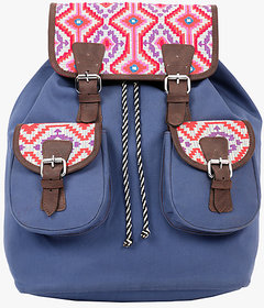 Pick Pocket blue canvas back pack with pink and red embroidered