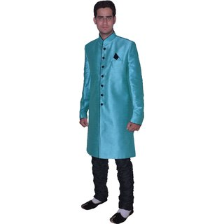 Turquoise Silk Indo-Western Sherwani With Black Breeches