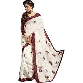 Triveni White Cotton Plain Saree With Blouse