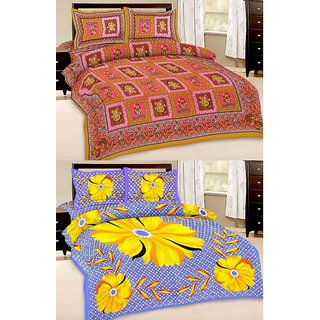 Shop Rajasthan Set of 2 Cotton Double Bed Sheet with 4 pillow covers (SRAN2001)