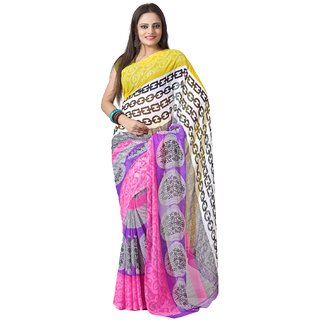 Aaina Pink Georgette Printed Saree With Blouse