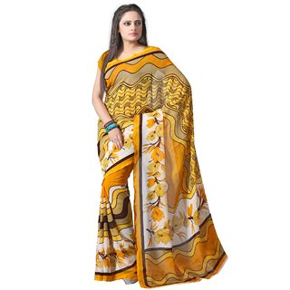 Aaina Yellow Faux Georgette Printed Saree (FL-2058)