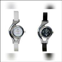 Round Dial Black Leather Strap Womens Quartz Watch