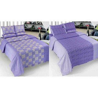 K Decor Set of 2 Cotton Double Bedsheet(CTN-05)