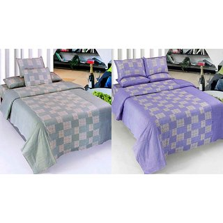 K Decor Set of 2 Cotton Double Bedsheet(CTN-10)