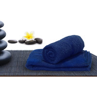 Story@Home Navy 2 Piece 450 GSM 100% Cotton Hand Towel Set (40X60 cms)
