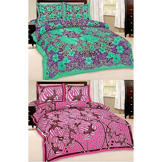 Shop Rajasthan Set of 2 Cotton Double Bed Sheet with 4 pillow covers (SRAN2009)