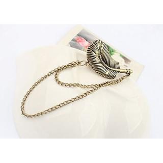 twistturn alloy feather leaf chain earringTT001