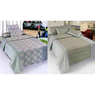 K Decor Set of 2 Cotton Double Bedsheet(CTN-09)