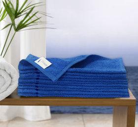 Story@Home Blue 10 Piece 450 GSM 100% Cotton Face Towel Set (30X30 cms)