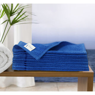 Story@Home Blue 10 Piece 450 GSM 100% Cotton Face Towel Set (30X30 cms)