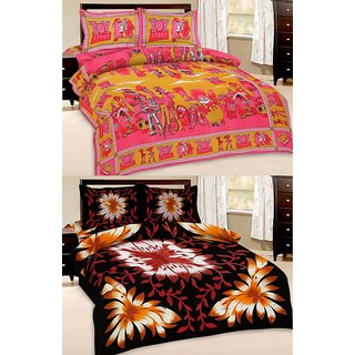 Shop Rajasthan Set of 2 Cotton Double Bed Sheet with 4 pillow covers (SRAN2016)