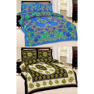 Shop Rajasthan Set of 2 Cotton Double Bed Sheet with 4 pillow covers (SRAN2017)