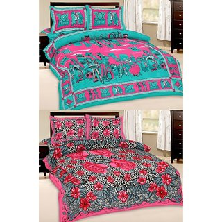 Shop Rajasthan Set of 2 Cotton Double Bed Sheet with 4 pillow covers (SRAN2018)