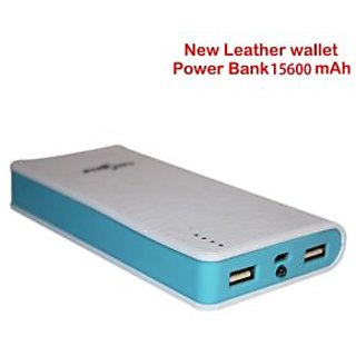 Callmate Power Bank Leather Wallet 6 cell 15600 Mah - White