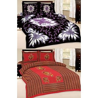 Shop Rajasthan Set of 2 Cotton Double Bed Sheet with 4 pillow covers (SRAN2020)