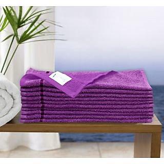 Story@Home Purple 10 Piece 450 GSM 100% Cotton Face Towel Set (30X30 cms)