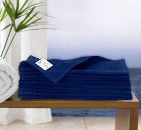 Story@Home Navy 10 Piece 450 GSM 100% Cotton Face Towel Set (30X30 cms)
