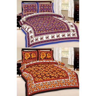 Shop Rajasthan Set of 2 Cotton Double Bed Sheet with 4 pillow covers (SRAN2023)