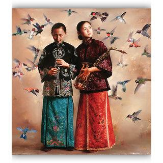 Vitalwalls - Portrait Painting -Premium Canvas Art Print.Oriental-123-45