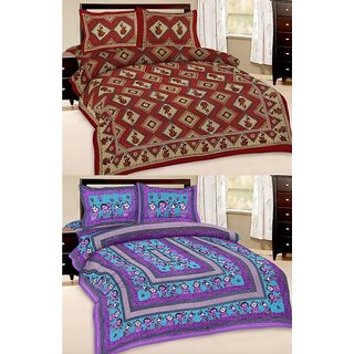 Shop Rajasthan Set of 2 Cotton Double Bed Sheet with 4 pillow covers (SRAN2028)
