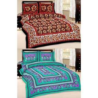 Shop Rajasthan Set of 2 Cotton Double Bed Sheet with 4 pillow covers (SRAN2029)