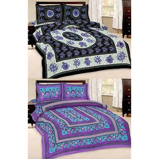 Shop Rajasthan Set of 2 Cotton Double Bed Sheet with 4 pillow covers (SRAN2030)