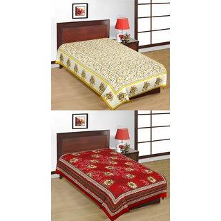 Shop Rajasthan Set of 2 Cotton Single Bed Sheets (SRBN2001)