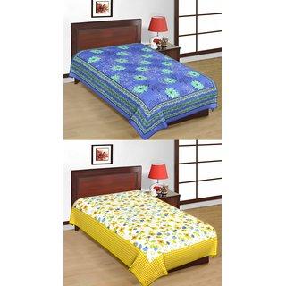 Shop Rajasthan Set of 2 Cotton Single Bed Sheets (SRBN2002)
