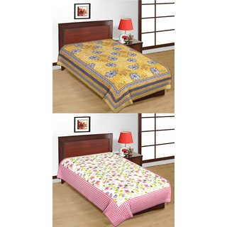 Shop Rajasthan Set of 2 Cotton Single Bed Sheets (SRBN2003)