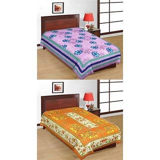 Shop Rajasthan Set of 2 Cotton Single Bed Sheets (SRBN2004)