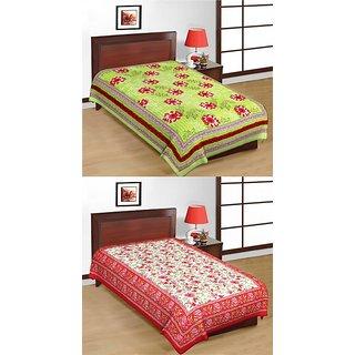 Shop Rajasthan Set of 2 Cotton Single Bed Sheets (SRBN2006)