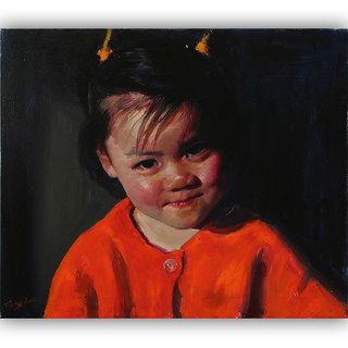 Vitalwalls - Portrait Painting -Premium Canvas Art Print.Oriental-140-60