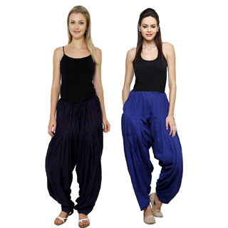 91d15fa2f21215 Buy Pistaa combo of womens Black and Royal Blue patiala salwar bottom pant  Online - Get 56% Off