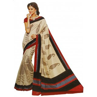 Shaarada Green & Blue Brasso Self Design Saree With Blouse