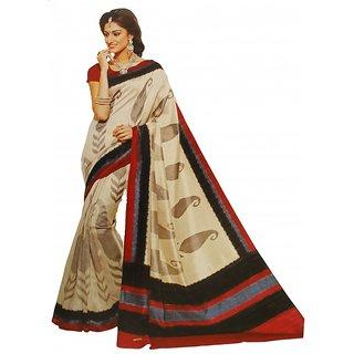 Shaarada Self Design Ikkat Silk Cotton Blend Sari