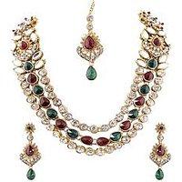 Kriaa Maroon  Green Austrian Stone Gold Finish Necklace Sets With Maang Tikka