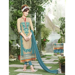 Thankar New Designer Aqua  Beige Straight Suit