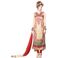Thankar Beige And Multi Embroidered Georgette Straight Suit