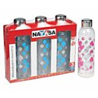 NAYASA METALLIS DLX PRINTED WATER BOTTLE 1000ML SET OF 3 COLOR MAY VARY
